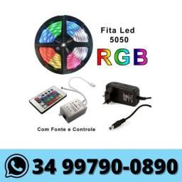 Fita de Led RGB colorida com Controle e Fonte