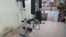 Estação De Musculação Multifuncional E Banco 180 Graus E Anilhas