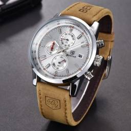 Relógio Couro Sport Fino Alta Qualidade Garantia