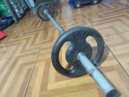 Barra 140 cm para rosca direta + 2 anilhas de 5 kg cada