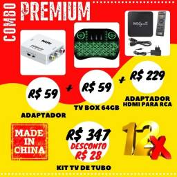 Kit Tv Tubo Modernize Com Adaptador Hdmi para Avi+ Tv Box Receptor + Teclado Sem Fio