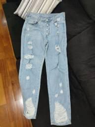 Calça MOM, Destroyed, Jeans, Tam 42
