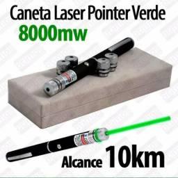 Caneta Laser Pointer Verde Lanterna 8000mw Até 10km 5 pontas