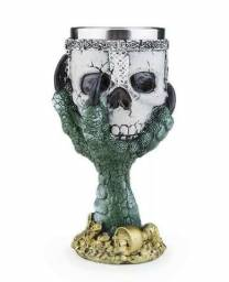 Taça Cálice Caveira Skull Resina Inox City Rock