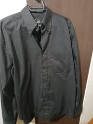 Camisa masculina social preta tamanho 2 21d30b0bc294b