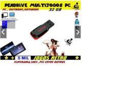 Pendrive Multijogos com 5000 jogos + 1 Controle para Jogar no computador ou notebook