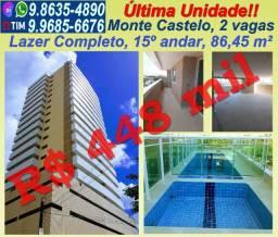 Apartamento no Monte Castelo, 86,45 m², Novo, Ótima localização