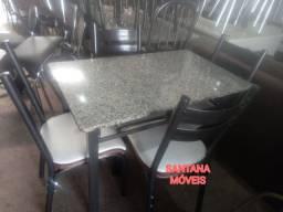Jogo mesa tubolares c/ 4 cadeiras. 1.00 x 0.60 L.  Pçs novas