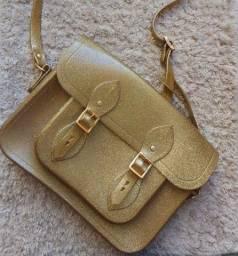 Bolsa melissa satchel cambridge dourada