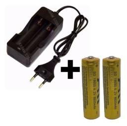Kit carregador duplo + 2 baterias recarregável 18650 9800 mAh.
