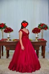 Vestido Marsala debutante