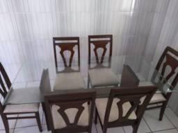 Mesa 6 lugares com Tampa de Vidro (6 Cadeiras)