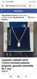 Conjunto cadeado corrente 72 cm pulseira é pingente