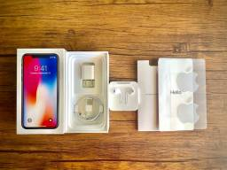 iPhone X 256gb Impecável Acessórios Lacrados Caixa + 3 Brindes