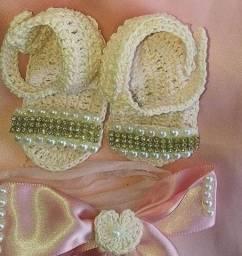 Sandalias em crochê até 5 meses