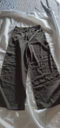 Calça pantalona boca de sino marrom esverdeada 40 CRRC CRRE