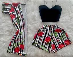 Conjunto Feminino Cropped Short Kimono 3 Pç  Roupas Femininas P . Aproveite!