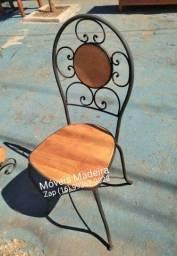 Cadeira industrial demolição ferro madeira rústico