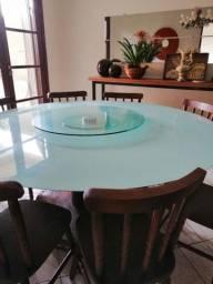 Vendo mesa de vidro com 8 lugares