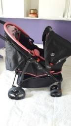 Carrinho de Bebê + bebê conforto Cosco Travel System na cor rosa com preto