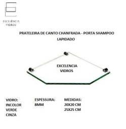 Porta Shampoo - prateleira de vidro 8mm lapidado - cantoneira