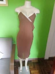 Vestido em Crepe Marrom - M/42