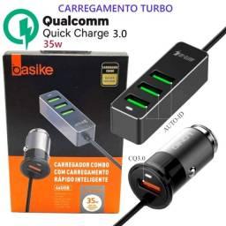Carregador Veicular Turbo 4 Usb Extensor 35w Quick Charge 3.0