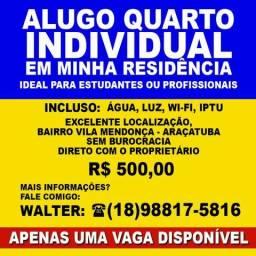 Aluguel de quarto individual em Araçatuba