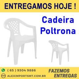 Cadeira Fixa Poltrona Plástico com Braços Branco Cadera de Bar Festa cuiaba