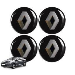 Adesivo Renault Resinado Centro de Roda ou Calota - Jogo 4 Peças Novo
