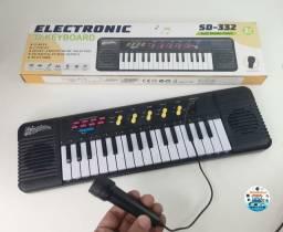 Teclado/Piano Musical Infantil P/ Crianças Com Microfone