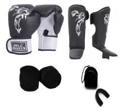 Kit Muay Thai Luva Caneleira Bandagem Bucal Brazuca Preto