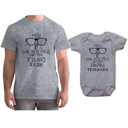 Camisa + Body insfantil personalizados - kit personalizado dia dos pais