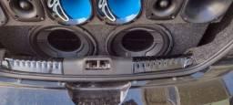 Alto falante sub 350 com caixa zero pouco usado