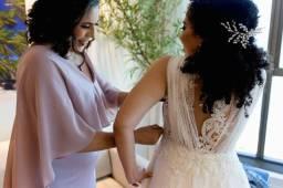 Vestido de Noiva em Renda Francesa (Com véu e grinalda)