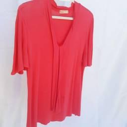 Blusinha de manga de malha rosa
