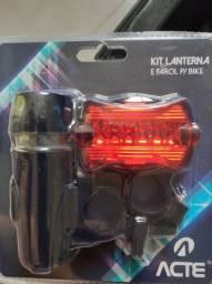 Kit lanterna e farol para bike acte bicicleta mountain bike