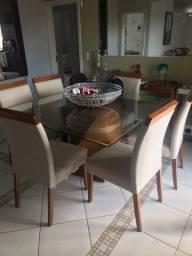 Mesa de jantar quadrada 6 cadeiras semi usada