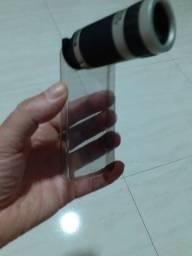 Capa de celular com luneta telescópica 8x