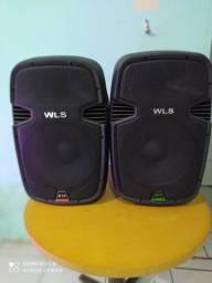 Caixas de som wls + tripé e cabos