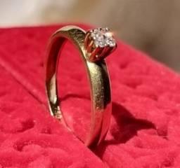 Anel de ouro 18k com 4 diamantes, tamanho 17
