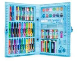Estojo Maleta Escolar Pintura 86 Peças Canetinhas Giz Azul ou Rosa