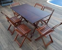 Mesa 1,20x0,70 direto Fábrica 6 cadeiras