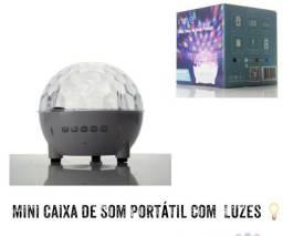 Mini caixa de som portátil com luzes