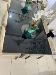 Conjunto de mesa de vidro temperado 1,20m x 1,20m com 4 cadeiras