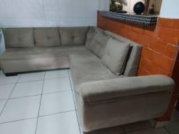 Sofa em suede tipo L