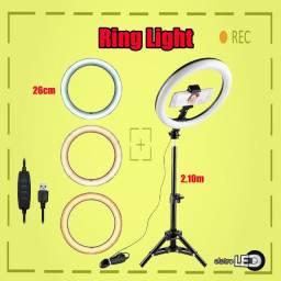Ring Light 26cm c/ tripé 2,10m