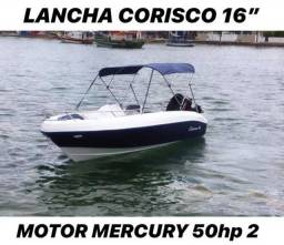 Lancha Corisco 16' Motor Mercury 50hp 2