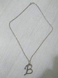 Corrente de prata 925 com pingente letra B
