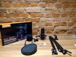 Kit Microfone Condensador + acessórios para gravação - live - podcast - home studio